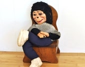 Vintage Monkey Doll 1950's Stuffed Animal Mid Century Toy w/ Clothing Tennis Shoes Smiling Face Soft Sculpture Childrens Kids Boys Girls Toy