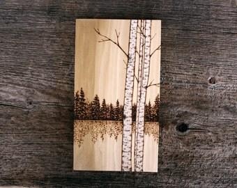 Birch Trees - Art on Wood - Wood burning