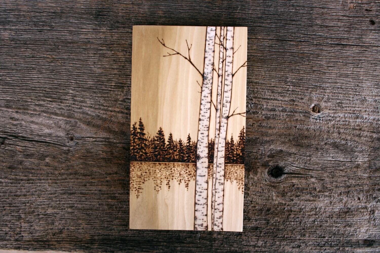Birch trees art on wood burning by twigsandblossoms