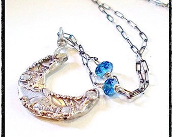 HANDMADE  -Larger - Silver Waxing Crescent Half Moon Necklace  Blue Topaz Gemstone