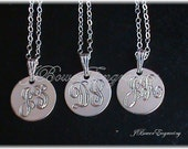 Bridesmaid Set of 3 Engraved Pendant Necklaces - Sterling Silver 1/2 inch Personalized Initial Charms