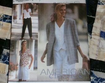 1992 Simplicity Misses Pants, Shorts, Toop and Unlined Jacket Pattern 8239 Size H, 6 - 10 Uncut