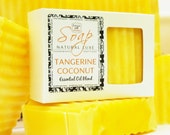 TANGERINE & COCONUT Soap - large 5.5 oz, shea butter, mango butter, cocoa butter, vegan, natural, handmade, gift, bath