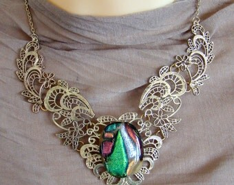 Victorian statement necklace, Fused dichroic glass jewelry