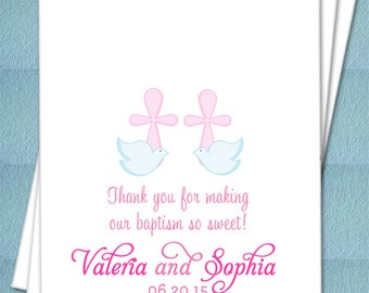 Twin Girls Doves and Cross Personalized Favor Bags - Christening, Baptism, Bautizo, Favor bags, Candy Buffet, Candy Bags - Set of 25