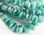 12 Czech Glass Aqua Turquoise Green 7x5mm faceted rondelle jewelry beads