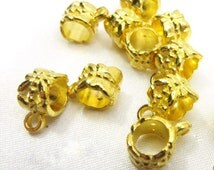 10 LARGE HOLE Shiny Gold Pester charm holder beads
