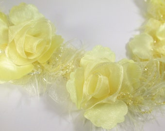 Pale Yellow Ruffled Rose Vintage Inspired Bridal or Decorator Trim - By the Flower, Half Yard or Yard