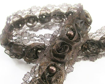 Chocolate Brown Organza Rosette Lace Trim with Pearl Centers for Bridal, Costume, Home or Craft Trim by the yard