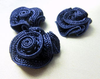 3 Navy Blue Small Ribbon Rose Sew On Appliques or Craft Flowers