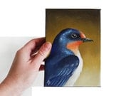 Barn Swallow painting, traditional art realistic song bird on 5x7 stretched canvas