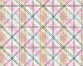 Pink Plaid Fabric Blend Fabrics Josephine Kimberling Linear Natural Wonder Fabric One Yard