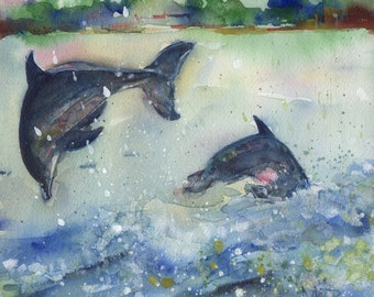 Joy, original watercolor painting of two dolphins playing in the ocean