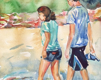 Walking The Beach watercolor painting, No Shoes Required