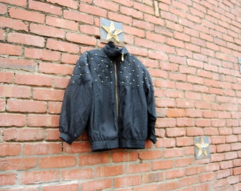 BARGAIN BIN! Studs Mackenzie Jacket // Black Silk Windbreaker 80s 90s Studs Medium