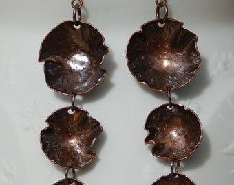 Three Domed Circle Copper Earrings.............item number 456
