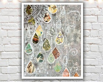 rain drop painting print - mixed media collage art - gray wall art - raindrop art