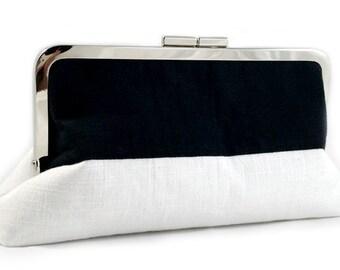 Sleek Black and White - Large Clutch