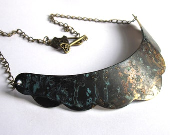 Verdigris Patina Crescent Necklace Turquoise Bib Collar Fashion Jewelry