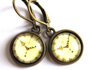 Sepia Clock Face Retro Earrings Glass Fashion Jewelry