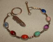REDUCED 35% Navaho Multi Stone Link Sterling Silver Bracelet