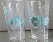 Set of Two Blue and Silver Floral Tumblers, Vintage Glass Drinkware, Beverage Serving, Clear Glass with Flowers