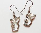 Playboy Bunny Earrings ~ Vintage Silver Plated Dangle