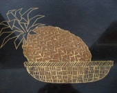 Vintage Pineapple in Basket Inlaid Couroc of Monterey California Tray