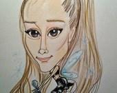 Ariana Grande Rock Caricature Pop Music Art Rock Portrait