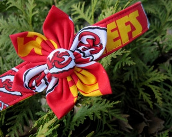 Kansas City Chiefs Football Sports Custom Dog Collar by Collars for Canines with Fabric Flower