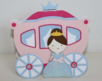 Cinderella Invitations, princess birthday, royal carriage party invitations, set of 12, custom colors