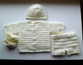 Pearly White Baby Boy's Christening, Baptism 4 Piece Set