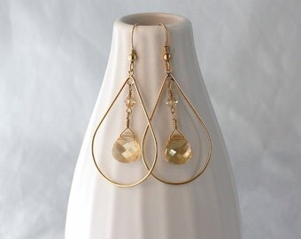 Unique gold teardrop earrings