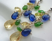 Yellow Beryl, Blue Kayanite and Green Tsavorite Garnet. Touched by the Sun Chain and Drop Earrings