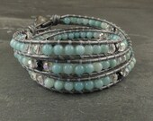 Destiny & Personal Gifts Leather Wrapped Bracelet with Amazonite, Hematite and Angel Aura Quartz