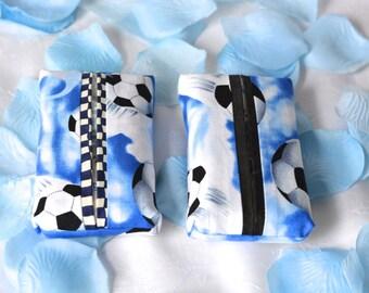 Kleenex Tissue Holders, 2 Soccer Mom Blue Tissue Holder, Handmade Business Card Case, Travel Tissue Case, Wedding Favor, Yankee Swap