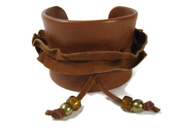 Ruffle Leather Cuff, Caramel Brown Wide Wrap Suede Flower  Wristband Chunky Bracelet
