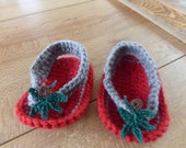 Red and Gray Crocheted Sandals with leaves and buckeye