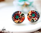 20% off -NEW Unique 3D Embossed Flower 16mm Round Handmade Wood Cut Cabochon to make Rings, Earrings,Necklaces, Bracelets-(WG-262)