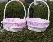 Personalized Easter Basket with Pink Quatrefoil Liner, Pink Easter Basket