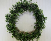 Faux Boxwood Grapevine Wreath Summer Anytime Door Decor