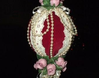 Handmade Vintage Christmas Ornament Victorian Pink Roses Lace Ribbon Pearls Burgundy Velvet Tassel
