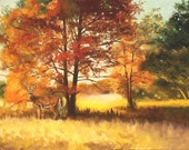"Large 30"" x 40"" whitetail deer, autumn scene, oils on canvas painting by RUSTY RUST / D-116"