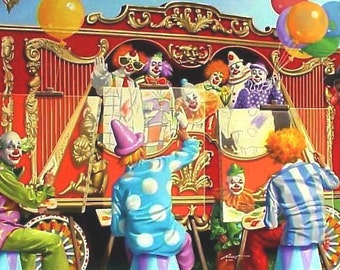 "CLOWNS circus illusion print by RUSTY RUST 11"" x 17"" heavy paper, kmage 11"" x 17"" / C-44-P"