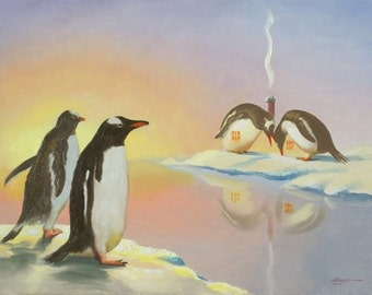 PENGUIN Hut illusion print by RUSTY RUST personally signed 11 x 14.5 / P-60-P