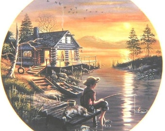 Fishing For Dreams 36x36 original oils on canvas Bradex painting by RUSTY RUST / D-35