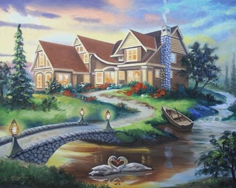 Two Of Hearts, swans, landscape, 30x40 oils on canvas painting by RUSTY RUST / S-114