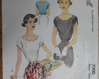 Vintage Blouse Pattern 1940s McCall 7900 Size 16 Bust 34 Scalloped Neckline