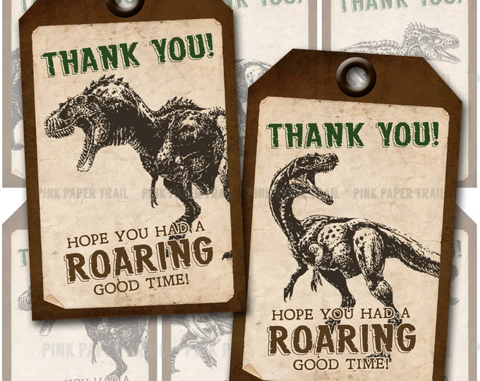 Dinosaur Themed Favor Tags - 4 different tag designs - Instant Download - Print Your Own
