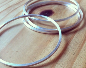 Square Silver Bangle—One Luxe Sterling Silver Square Bangle—Made-To-Order